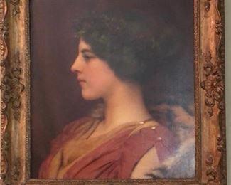 John William Godward (England, 1861-1922) oil on canvas portrait of Ethel Warwick, late 19th century.