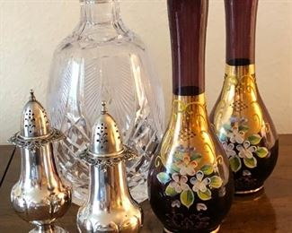 Waterford crystal decanter, Bohemian glass vases and Wallace Grand Baroque sterling silver salt/pepper set