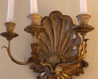 Pair of Italian baroque style giltwood wall sconces