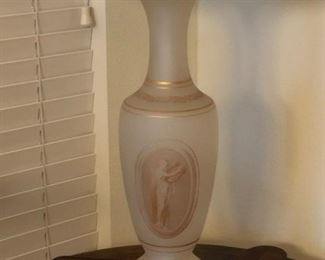 Vintage frosted glass vase, gilt decorated with neoclassical motifs mounted as lamp