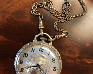 Illinois open-face pocket watch with engraved case and fob, circa 1920s