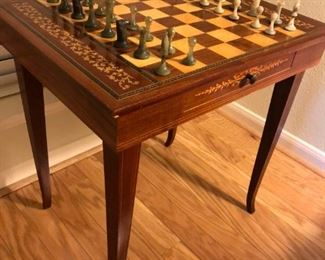 Mahogany and marquetry neoclassical style chess table
