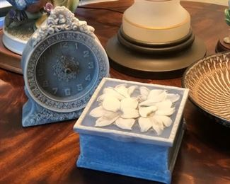 Vintage incolay stone dresser clock and trinket box
