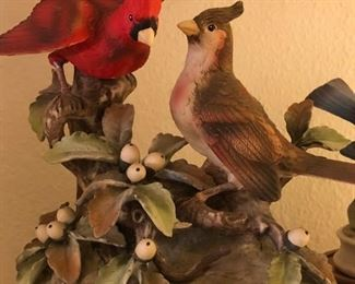 "Collection of vintage porcelain figurines including Andrea by Sadek ""Cardinals"""