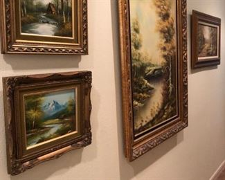 Large collection of original paintings by regional artists, late 20th century