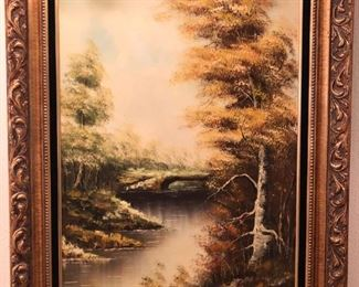 Regional artist signed oil on canvas autumn landscape painting, late 20th century