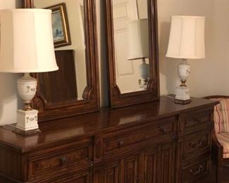 Drexel mahogany finish triple dresser with two mirrors