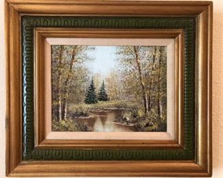 "Oil on canvas depiction of a wooded landscape, signed ""Isler"""