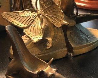 Vintage brass bookends and pipe stands