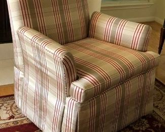 Pair of like-new plaid upholstered easy chairs
