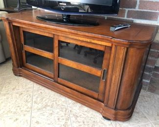 Media cabinet/credenza with sliding glass doors