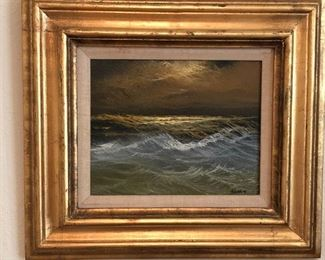 "Oil of canvas seascape painting, signed ""Braker"""