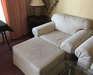 Beige Arm Chair & Ottoman