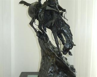Frederic Remington Bronze Mountain Man Statue Sculpture with Marble base. Height 28in.