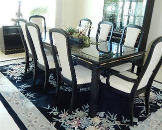 Black flowered wool carpet MER Corporation