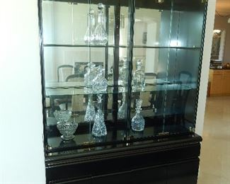 Broyhill China Cabinet height 80in. length52 Black Lacquer glass shelf's.