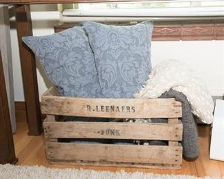 Rustic Wood Box, Crate and Barrel Down Filled Blue Pillows