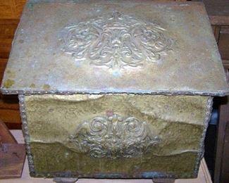 Victorian Brass Kindling Box
