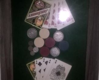 COLLAGE OF VINTAGE PLAYING CARDS; POKER CHIPS AND SILVER MONEY
