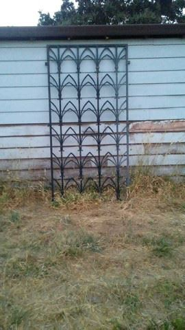 ART DECO WROUGHT IRON GRILL GRATE PANELD FROM AN ART DECO COMMERCIAL BUILDING.  DIMENSIONS: 8 FEET 8 INCHES HIGH X 4 FEET 8 INCHES WIDE.