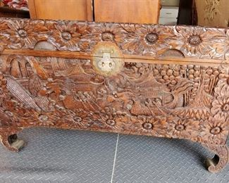 Circa 1940s carved Chinese Camphor Chest