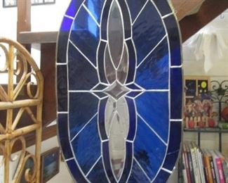 Beautiful Blue Stained Glass Hanging Piece
