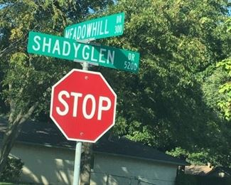 Cross streets near alley (1 block away) that accesses the Estate Sale.  You will not be able to enter the property from the front door.  You must access through the alley.  Please google 5200 Shadyglen for your driving directions.  Follow the blue/white signs!