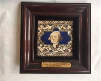 Unique Persian Tile of George Washington presented to U.S. government by Minister of Persia