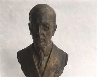 Bronze Bust of Woodrow Wilson by Emile Carlier