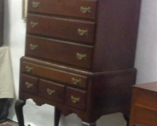 "Petite  American Centennial Queen Anne style solid mahogany flat top highboy, only  34"" wide"