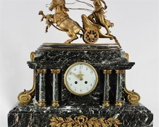Figural Marble Mantle Clock