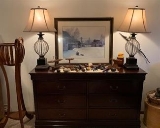 Dresser, Pipes, Lamps