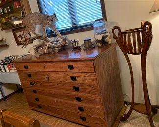Custom Solid Oak Gun Cabinet, Bobcat