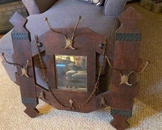 Antique Mirror/Hat Rack