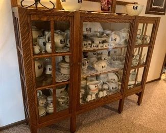 Unmarked Charles Stickley 3 Door Mission China Cabinet, Large Collection of Halls Silhouette China