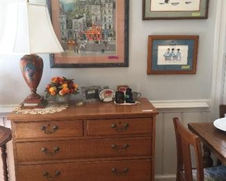 Vintage Oak 5 Drawer Chest with Brass Pulls