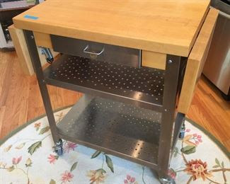 Booz Brothers Stainless Steel Butcher Block Cart