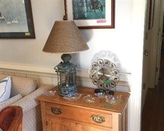 Oak Washstand  -  Pair Nautical Ship Lantern Lamps
