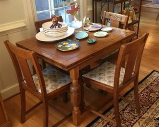 Antique English Oak Draw Leaf Table and 4 Chairs