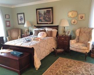 Mahogany Sleigh Bed - Lane Cedar Chest