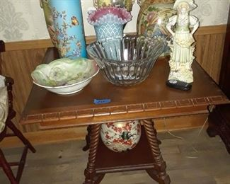 Stunning square center table with quilted and cased  glass vases and Japanese and European porcelains