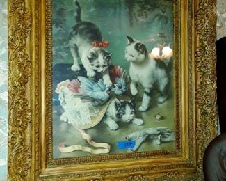 Antique lithograph of cats playing set in gold leaf gesso and wood frame