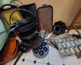 TONS of Cast iron, Molds and baking supplies here!