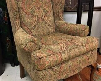 A Classic Century Furn. Paisley Wing Chair