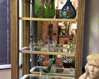Carved Mirror Back Bookcase