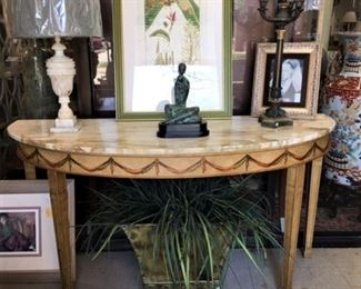 Hand painted Marble Top Demi Lune