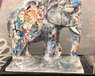 Laszlo Dus massive painted papier mache Elephant in custom case