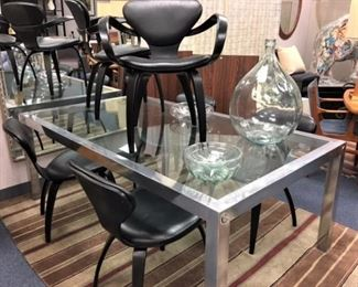 Mid Century Glass Chrome Table, Set 6 Plycraft Chairs