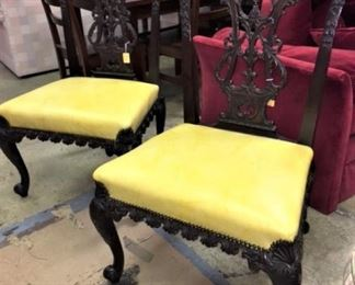 Pair Vintage Chippendale Chairs