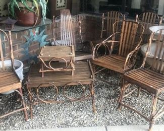 HICKORY CRAFTED TWIG FURNITURE 4 SIDE 1 ARM 1 ROCKER 1 END TABLE AND COFFEE TABLE